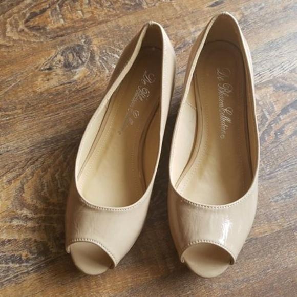 44c4d74c1e3 De Blossom Collection Shoes - De Blossom Collection Nude Peep Toe Kitten  Heel